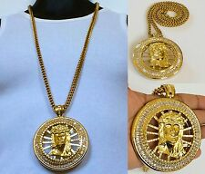 "MENS GOLD JESUS FACE ROUND PENDANT 36"" 8mm STAINLESS STEEL FRANCO CHAIN NECKLACE"