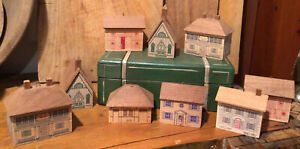 VINTAGE 9 Wood House Ornaments~IBIS Collectibles Inn Barn Church Station Houses