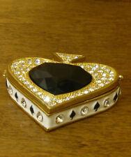 "Welforth Jeweled Trinket Box #J2113 ACE of SPADES, NIB from Retail Store 2"" wide"