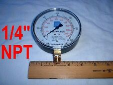 "0 to 300 PSI Water Pressure Gauge 1/4"" NPT 4"" Dial Sprinkler Wells"