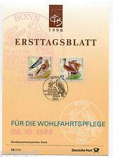 ALLEMAGNE FEDERALE 1998, OISEAUX, BIRDS, timbres 1846 et 1847, DOCUMENT 1° JOUR