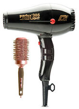 Parlux 385 BLACK Hair Dryer Powerlight Ceramic Ionic + FREE Brush + 2 Nozzles