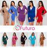 Elegant & Trendy Women's Mini Dress Creases Cowl Neck Tunic Size 10-18 FT479