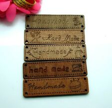 50pcs 6.4x1.7cm HANDMADE SIGN MIXED Wood Label  Sewing Logo Tape Tag E231