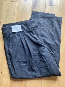 Womens Charcoal Grey Size 20 Regular BNWT Italian Wool Tapered Trousers RRP £65