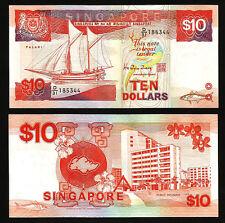 SINGAPORE 10 DOLLARS 1988 UNCIRCULATED P.20 SHIP SERIES