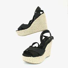 Wild Diva Lounge Black Wedge Espadrille Sandals Womens 6.5 High Platform Shoes
