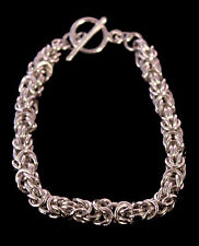 Handmade Sterling Silver Chainmaille Byzantine Bracelet. 7 Inches