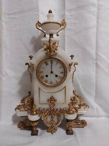 19th Century French Gilt Bronze White Marble Mantel Clock Louis IV