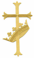 """10""""H  Fleur Cross W/Crown -Vestment - Banners - Embroidered Iron On Patch - GR"""