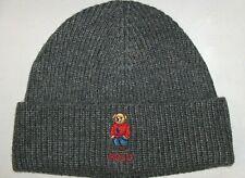 POLO RALPH LAUREN Mens BIG PONY SWEATER BEAR Beanie Hat, Skull Ski Cap GREY GRAY