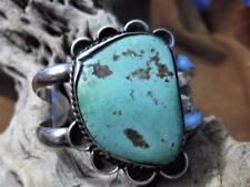 Vintage OLD PAWN NAVAJO HAND MADE LARGE SLAB TURQUOISE  SILVER CUFF BRACELET