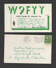 1949 W9FYY QSL CARD USED COLUMBUS INDIANA USA