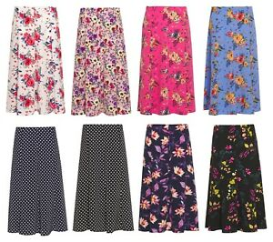 Ladies Floral Skirt Lightweight Polyester Fabric Half Elasticated Waist KK66