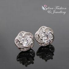 18K White Gold Plated Channel-Set Diamond Baguette Flower Clear Stud Earrings
