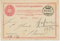 "SCHWEIZ 1871 5 C karminrosa Pra.-GA-Postkarte, K2 ""BERN / BRIEFEXPED."", ABART!!!"