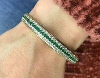 Turkish Handmade Jewelry Sterling Silver 925 Emerald Bracelet MDAK