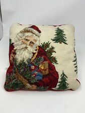 VICTORIAN Santa FATHER CHRISTMAS Wool Needlepoint Throw Pillow Square 13""