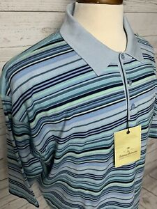 NWT Tommy Bahama Men's Silk Blend Short Sleeve Blue Stripe Polo Shirt Sz XXL