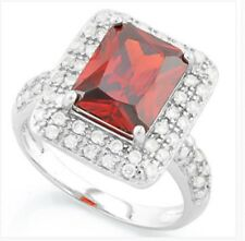 RUBY RED GARNET & DIAMOND SILVER RING 4 CWT WHITE GOLD LOOK GENUINE STONES