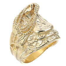 9ct Yellow Gold Handmade Solid Gent's Medium Saddle Ring 26G RRP £1200 (BR3_A)