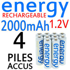 4 PILES ACCUS RECHARGEABLE AAA ENERGY NI-MH 2000mAh 1.2V LR03 LR3 R03 R3 ACCU