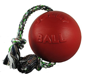 Jolly Pets Romp-n-Roll Rope and Ball Dog Toy, 4.5 Inches/Small, Red