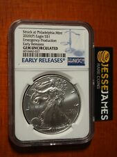 2020 (P) Silver Eagle Ngc Gem Unc Emergency Issue Struck At Philadelphia Mint