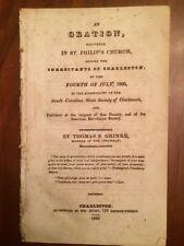 1829 Charleston, SC, July 4th Address, Society Cincinnati, American Revolution