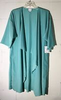 LuLaRoe Shirley Womens L Green Floral sheer Short Sleeve Open Front Kimono
