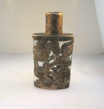 ANTIQUE 925 STERLING SILVER MEXICO PERFUME BOTTLE SCENT FLORAL & LEAF OVERLAY