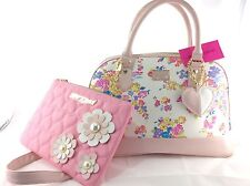 Betsey Johnson 2pc Spring Floral Set: Satchel Handbag & Cosmetic Case / Pouch