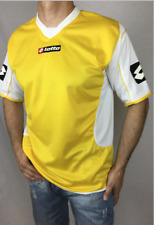 Incredible Lotto Brand vintage retro yellow-white Jersey short sleeves v-neck