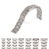 12/14/16/18/20/22/24mm Silver Stainless Steel Straight End Watch Strap Band