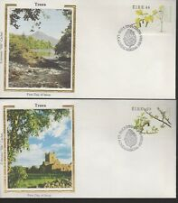 IRELAND - TREES - 585-8 FDCs - COLORANO SILK CACHET - 1984