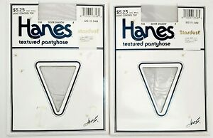 NOS Vtg Hanes Stardust Lot of 2 SILVER SHADOW 966 B  Textured Pantyhose USA New