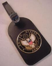 USA US ARMY LOGO BLACK LEATHERETTE LUGGAGE TAG NEW