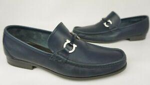 Salvatore Ferragamo Grandioso Bit Men's Blue Leather Loafers Size 11 EE 2E