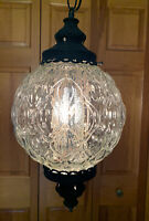 Vintage Mid Century Lg Clear Round Glass Hanging Pendant Swag Light w/Chain 10'