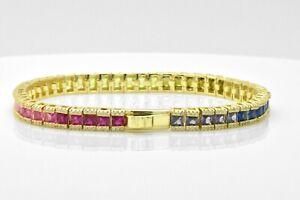 "14k Yellow Gold Over 925 Silver Rainbow MultiColor Sapphire Tennis 7"" Bracelet"