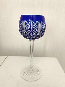 Superbe verre à vin bleu Roemer cristal signé St Louis modèle Riesling