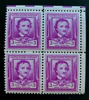 US Stamps, Scott #986 Edgar Allan Poe Issue 1949 3c Corner Block of 4 XF M/NH