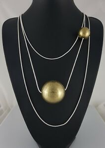 Unusual Multi Row Silver Snake Chain Chunky Ball Sphere Long Lagenlook Necklace