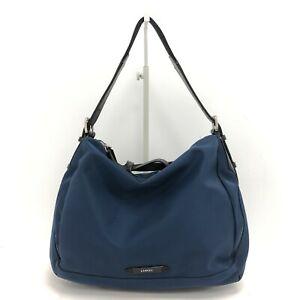 Lancel Women's Slouch Shoulder Bag Navy Blue Medium Casual Zipped Nylon 171429