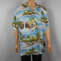 Kalaheo Hawaiian Mens Shirt Floral Palms Island Waterfall 100% Rayon XL USA