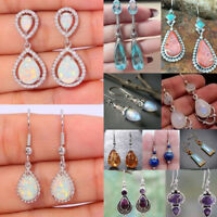 925 Silver White Topaz Moonstone Ear Hook Gems Dangle Earring Women Jewelry Gift