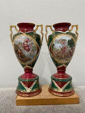 German Oscar Schlegelmilch St. Killian Porcelain Pair of Urn Form Vases Vienna