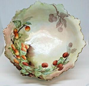 Antique Tressemanes And Vogt Limoges France Handpianted Blackberry Fruit Dish Artist Signed Small Bowl T /& V
