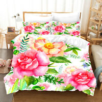 3D Watercolor Flower Quilt Cover Set Bedding Duvet Cover Single/Queen/King 47