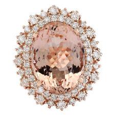 12.85 Carat Natural Pink Morganite and Diamond 14K Rose Gold Cocktail Ring
